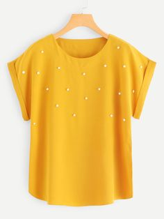 Casual Plain Top Regular Fit Round Neck Short Sleeve Roll Up Sleeve Pullovers Ginger Regular Length Pearl Beaded Cuffed Blouse - Pullover Blouse Patterns, Blouse Designs, Pullover Pink, Shirt Bluse, Plain Tops, Roll Up Sleeves, Blouse Online, Ladies Dress Design, Casual Tops