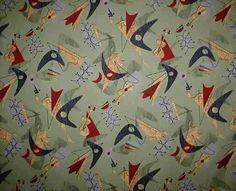Beatnik Ivory Tropical Hawaiian abstract nubby upholstery fabric.