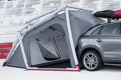 The Audi Q3 camping inflatable tent concept can be installed in a mere seven minutes, is attachable to the trunk.    Images © Audi  The Audi Q3 Tent by Heimplanet uses an inflatable structure, making