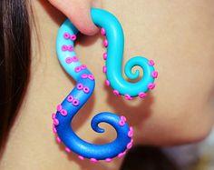 Color Fade Tentacle Ear Plug and Fake Plug Fake by TaniaChernova