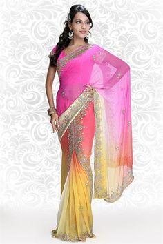 Tantalizing pink & yellow georgette lehenga style saree
