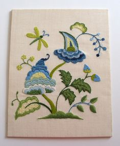 Stunning vintage crewel embroidery folk by plainandfancyvintage, $48.00