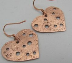 Copper Earrings  Heart Shaped Earrings  Recycled by ruddlecottage, $17.50