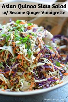 Asian Slaw Recipe with Quinoa and Sesame Ginger Vinaigrette Asian Quinoa Slaw Salad is clean-eating, Asian-style, vegetables and protein-packed quinoa. Meal prep it for the busy week. Add chicken, pork, or other veggies. Slaw Recipes, Vegan Recipes, Cooking Recipes, Cabbage Salad Recipes, Quinoa Recipes Lunch, Quina Salad Recipes, Breakfast Recipes, Chicken Recipes, Salmon Salad Recipes