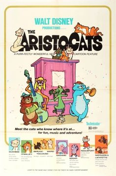 The Aristocats Walt Disney 1970 - original vintage movie poster for the classic children's Walt Disney animation film The Aristocats featuring Duchess (voice by Eva Gabor), O'Malley (voice by Phil Harris), Berlioz, Marie and Toulouse (the three kittens), Madame (voice by Hermione Baddeley), Edgar (the Butler), Roquefort (the mouse) and Napoleon and Lafayette (the dogs) listed on AntikBar.co.uk