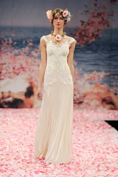 THALIA Wedding Gown by Claire Pettibone. Ivory embroidered cameo bodice with guipure lace appliqués and silk velvet skirt.