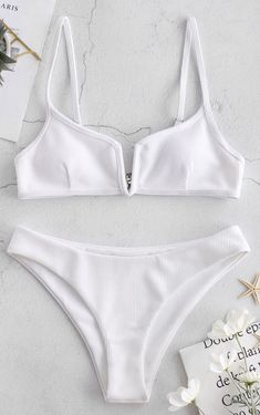 Have a chic casual look when you wear this solid ribbed bikini set! Adjustable narrow straps connect with back hook closure to provide security, and the V-wired between the cleavage offers a very striking look. Matching briefs have moderate coverage. Summer Bikinis, Cute Bikinis, Swimwear, Zaful Bikinis, Summer Bathing Suits, Cute Bathing Suits, Cute Swimsuits, Women Swimsuits, Vintage Bikini