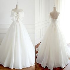 Newest Design Organza Bow A-line Lace Up Wedding Dresses, Chic Popular Wedding Dresses,prom dress Popular Wedding Dresses, Long Wedding Dresses, Bridal Dresses, Wedding Gowns, Prom Dresses, V Neck Wedding Dress, Birthday Dresses, Facon, Dress With Bow