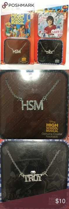 Disney High School Musical Crystal Necklace Set Brand new in packaging. This set includes 1 HSM and 1 Troy Genuine Crystal Necklace. Perfect for any Zac Efron fan! Each necklace comes in a collectible metal tin. Disney Jewelry Necklaces