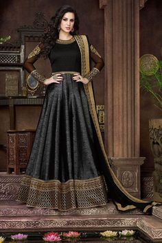 Buy Black color silk kali work party wear anarkali suit at kollybollyethnics with free worldwide shipping.