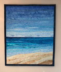 Landscape Art Quilts, Landscape Edging, Landscape Paintings, Ocean Quilt, Beach Quilt, Beach Themed Quilts, Quilt Modernen, Textiles, Quilted Wall Hangings