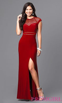Image of sheer-neckline long formal dress with cap sleeves. Style  MO- 5425fcdf08cd