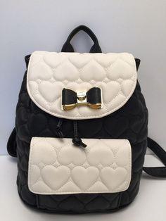 Betsey Johnson Handbag Bow Flap Backpack Bone Black Be Mine Shoulder Purse  New  0ec652a0086a0