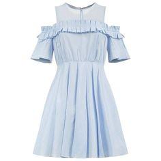 Sandro Smocky Dress (1,210 SAR) ❤ liked on Polyvore featuring dresses, blue skater skirt, cold shoulder dress, off the shoulder dress, circle skirt and sheer dress