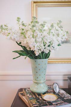 mint & gold vase