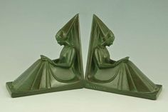 Art Deco Bookends with Women Reading by Max Le Verrier