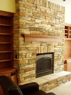 Stone Veneer Fireplace Face (Baker Masonry LLC 503 539 Color and wrapping Cultured Stone(County Ledgestone Caramel with Taupe Hearthstones) & 52 best Cool Stone Fireplaces images on Pinterest | Stone fireplaces ...