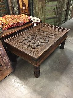 Antique coffee table old doors chakra iron brass hand carved indian