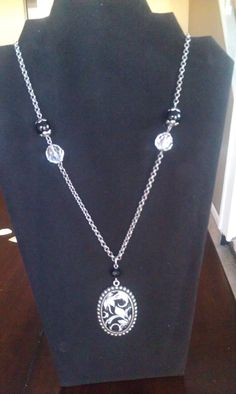 Beautiful long black and white necklace by AdelaidsCreations, $13.00