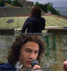 Heath Ledger (Patrick Verona): You're just too good to be true. Can't take my eyes off of you. - 10 Things I Hate About You Heath Ledger, 90s Movies, Iconic Movies, Great Movies, Julia Stiles, Movies And Series, Movies And Tv Shows, Tv Series, Love Movie