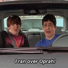 That time Josh ran over Oprah lol drakeandjosh drakebell joshpeck drakeparker joshnichols Adventure Time Art, Cartoon Network Adventure Time, Drake Parker, Old Disney Tv Shows, Haha Funny, Funny Memes, Icarly And Victorious, Dan Schneider, Drake Bell
