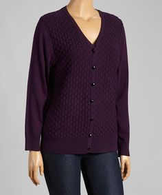 Look at this Purple Scallop V-Neck Cardigan - Plus on #zulily today!
