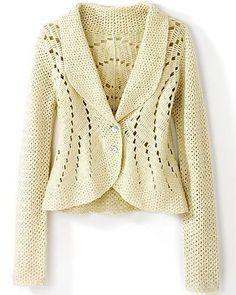 beautiful cream crochet jacket/cardigan with eyelet details Crochet Bolero, Gilet Crochet, Crochet Cardigan Pattern, Knit Or Crochet, Sweater Patterns, Crochet Sweaters, Crochet Patterns, Mode Crochet, Crochet Fashion