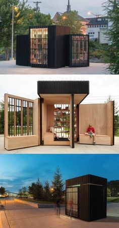 The Story Pod is a portable lending library design. - The Story Pod is Kiosk Design, Nachhaltiges Design, Booth Design, Urban Design, House Design, Design Ideas, Studio Design, Urban Furniture, Street Furniture