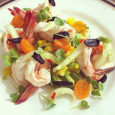 avocado, black garlic, shrimp, lemon cucumber, tropical fruit