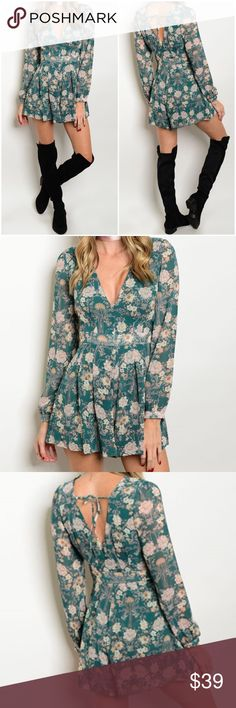"""✨NEW✨Sage Green Floral Long Sleeve Romper Lon sleeve, fitted waist romper with flounce shorts and a back tie closure. Length approx 32"""". Leather and Sequins Pants Jumpsuits & Rompers"""