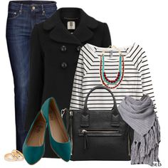 """Peacoat & Flats"" by coombsie24 on Polyvore"