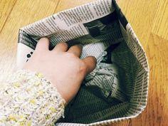 私のお気に入り。新聞紙で作るゴミ箱とマチありの袋 | かたづけとモノづきあい Reuse Recycle, Recycling, Envelopes, Diy And Crafts, Paper Crafts, Origami, Gifts, Newspaper, Eco Friendly