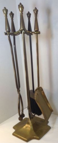 Hearth Tool Set Solid Brass Vintage Fireplace Accessory Poker Shovel Tong Broom