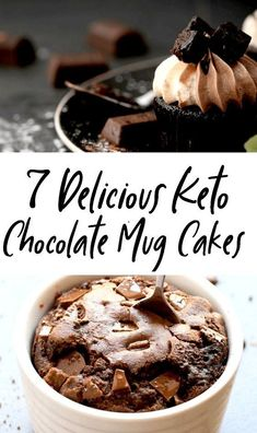 Keto Chocolate Mug Cake Recipes - 7 Irresistible 1 Minute Mug Cakes 7 Keto Microwave Mug Cakes For One, Ready In Less Than 5 Minutes! These low carb chocolate mug cakes are THE BEST! You will never want to try another keto friendly mug cake after Keto Chocolate Mug Cake, Keto Mug Cake, Chocolate Mug Cakes, Low Carb Chocolate, Keto Mug Bread, Keto Chocolate Mousse, Desserts Keto, Keto Friendly Desserts, Dessert Recipes