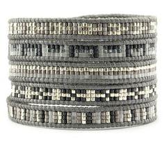 Light Grey Mix Sectioned Wrap Bracelet on Iceberg Leather