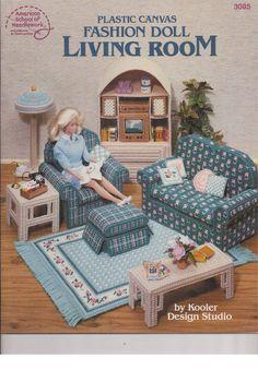American School of Needlework Plastic Canvas Fashion Doll Living Room 3085 #AmericanSchoolofNeedlework