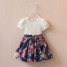 2015 estilo verão novo meninas vestido vestido de meninas roupas de algodão princesa patchwork floral roupas de bebê vestido vestidos(China (Mainland))