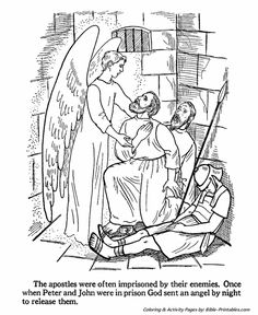 An Angel Releases Peter And John From Prison By Putting The Guards To Sleep Bible Coloring Page