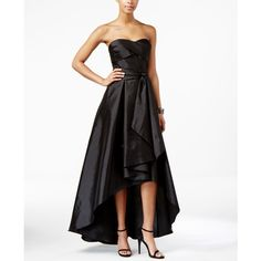 Adrianna Papell Belted High-Low Strapless Dress ($170) ❤ liked on Polyvore featuring dresses, black, short front long back dress, strapless hi low dress, adrianna papell, adrianna papell dresses and strapless high low dress