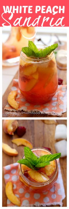 All Natural White Peach Sangria With Mint White peach sangria sweetened naturally with fresh berries, peaches and honey. No refined sugars or syrups for this perfectly sparkling drink! #sangria #white #peach #mint #recipe #drinks   Delightful Mom Food