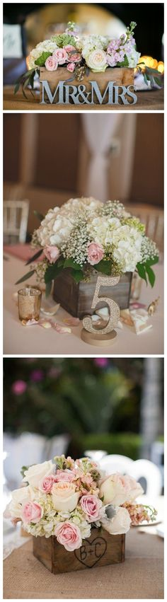 Rustic country wooden crate wedding centerpiece ideas #weddings #rusticweddings #countryweddings #weddings #dpf #deerpearlflowers #centerpieces /