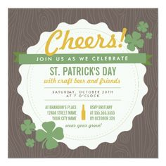 St. Patrick's Day Party Invitations Craft Beer St. Patrick's Day Invite