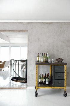 industiral bar cart with casters, yellow + grey, unfinished + worn; Swedish home via iiiinspired