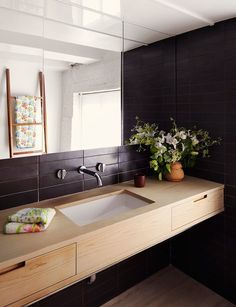 Black and wood bathroom. Inez van Lamsweerde and Vinoodh Matadin's Manhattan Loft : Interiors + Inspiration : Architectural Digest Loft Bathroom, Bathroom Red, Laundry In Bathroom, Bathroom Interior, Small Bathroom, Master Bathroom, Vanity Bathroom, Laundry Rooms, Bathroom Ideas
