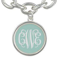 Mint Preppy Script Monogram - CWE Charm Bracelets