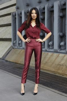 Fashionably Fly, oxblood red ensemble