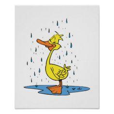cute+duck+prints   cute puddle duck in the rain print