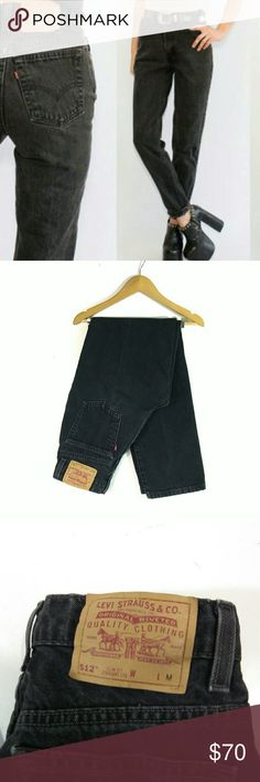 """*MINT* Vintage Black Levi's 512 Slim Straight Jean True vintage! Early 90's- AMAZING condition! These lightly distressed black Levi's 512 Slim Straight (the 90's version of the skinny jean) jeans are so hot and booty flattering! Ultra high rise, button and zipper closure, with a slim/straight fit and ankle crop length inseam!   Size 9 Jr/26-27 Reg. See detailed flat measurements 14"""" waist, 11"""" rise, 18"""" across hips (measured just above the base of the zipper,) 10.5"""" across the thighs…"""