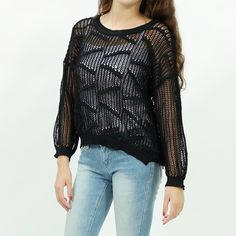 Knitted fishnet mesh batwing sweater top