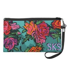 Monogramed Orange Coral Red Roses on Aqua Teal  Downsize your purse with a fashionable and personalized wristlet from Zazzle. Made to fit everything you need day or night, it's a stylish look for every occasion and event. Our vibrant printing process makes your designs, photos, and text stand out on this wristlet - you'll be the talk of the town! Customize with a message for a friend to make a fun gift or add your initials for a personalized touch.  Perfect for credit cards, cash, make-up…